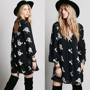 Free People | Black Embroidered Austin Mini Dress